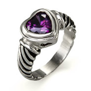 Designer Inspired Amethyst Heart Ring