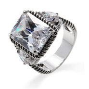 Designer Inspired 7.5 Carat Radiant Cut Ring with Brilliant Cut CZ Accents