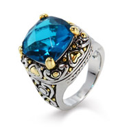 Designer Inspired Blue Zircon Cushion Cut CZ Ring with Golden Hearts