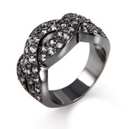 Oxidized Braided Design CZ Ring