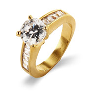 Classic Brilliant Cut Channel Set CZ Gold Engagement Ring
