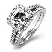 Shae's Beautiful Princess Cut CZ Engagement Ring Set