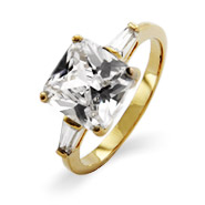 Gold Plated Princess Cut CZ Engagement Ring