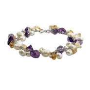 Freshwater Pearls and Amethyst Genuine Stone Bracelet