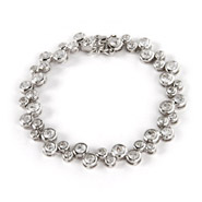 Tiffany Style Sterling Silver and CZ Bubbles Bracelet
