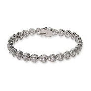 Sterling Silver Cubic Zirconia Heart Shaped Tennis Bracelet