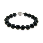 Black Onyx Faceted Bead Bracelet w/ CZ Disco Ball Clasp