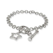 Tiffany Inspired CZ Star Charm Toggle Bracelet