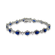 Kelly's Oval Sapphire CZ Bracelet Accented with Diamond CZs
