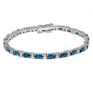 Hannah's Formal Baguette Blue CZ Tennis Bracelet