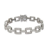 Designer Inspired Basket Link Diamond CZ Tennis Bracelet