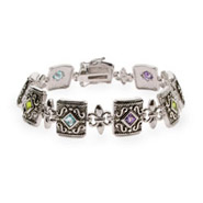 Antique Multicolor CZ Fleur de Lis Sterling Silver Bracelet