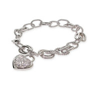 Designer Inspired Oval Linked Pave Heart Charm Bracelet