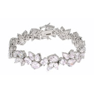 Red Carpet Glam Pear Cut CZ Sterling Silver Bracelet