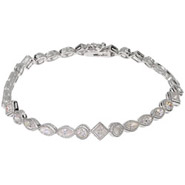 Sparkling CZ Tennis Bracelet with Vintage Style Edging