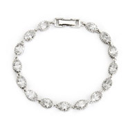 Sterling Silver Crown Set Oval CZ Tennis Bracelet