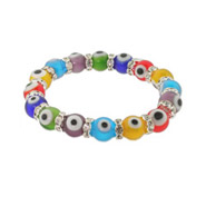 Multicolor Glass Bead Evil Eye Bracelet