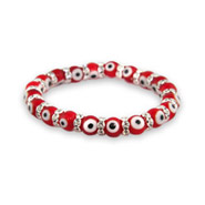 Red Glass Bead Evil Eye Bracelet