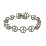 Sparkling CZ Sterling Silver Peace Sign Bracelet