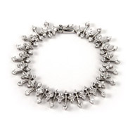Glamorous Sterling Silver CZ Flower Linked Bracelet