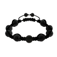 Black Faceted Hematite and Austrian Crystal Shamballa Style Bracelet