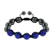 Pave Austrian Crystal Royal Blue and Hematite Shamballa Inspired Bracelet