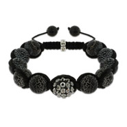 Marbled Black Fire Agate Shamballa Inspired Bracelet