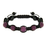 Pave Purple Austrian Crystal Shamballa Inspired Bracelet with Hematite Beads