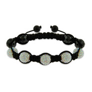 Fire Crystal Shamballa Style Bracelet with Hematite Beads