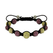 Lavender and Gold Austrian Crystal Shamballa Inspired Bracelet