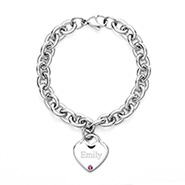 Close to the Heart Stainless Steel Birthstone Heart Tag Bracelet