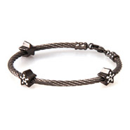 Designer Inspired Black Stackable Rope Bracelet with CZ Stars