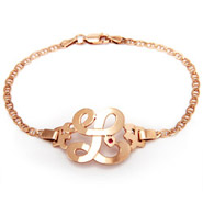 Rose Gold Vermeil Initial Bracelet with Birthstone