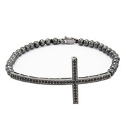 Sterling Silver Oxidized CZ Sideways Cross Bracelet
