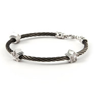Designer Inspired Stackable Cable Rope Bracelet with CZ Stars