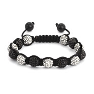 Shamballa Inspired 10mm White and Black CZ Pave Bead Bracelet