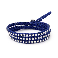 Chen Rai Royal Blue Macrame and CZ Wrap Bracelet