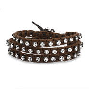 Chen Rai Chocolate Brown Macrame and CZ Wrap Bracelet