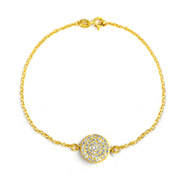 Kate Middleton Inspired Gold Vermeil Round Pave CZ Bracelet