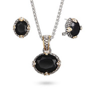 Victoria's Bali Style Oval Onyx Necklace and Earring Set