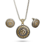 Designer Inspired Round Two Tone Bali Style Necklace and Earring Set