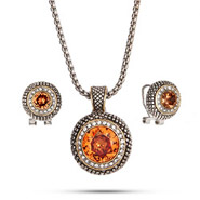 Designer Inspired Round Cut Champagne CZ Nedcklace and Earring Set