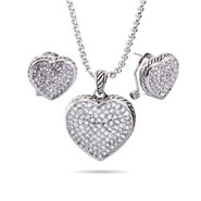 Designer Inspired Reversible Pave Heart Necklace and Earring Set