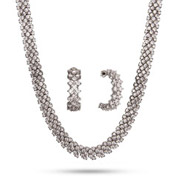Glamorous Brilliant Cut CZ Cocktail Necklace and Earrings Set