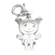 Sterling Silver Happy Little Girl Charm