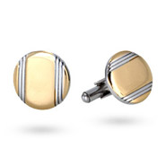 Men's Stainless Steel Engravable Lined Gold Cufflinks