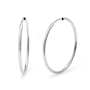 Jennifer Lopez Inspired Sterling Silver Continuous Hoop Earrings - 1 Inch