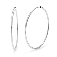 Jennifer Lopez Inspired Sterling Silver Continuous Hoop Earrings - 1.5 Inch