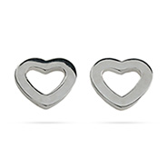 Tiffany Style Sterling Silver Heart Link Stud Earrings