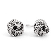Tiffany Inspired Textured Knot Mesh Sterling Silver Earrings